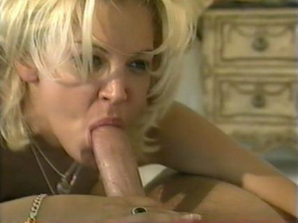 Blonde chick Dru Berrymore giving blowjob in the bedroom from Free Blowjob Passport