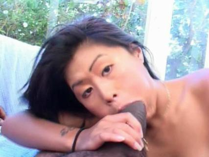 Asian whore gives blowjob and swallows black sperm on her knees from Free Blowjob Passport